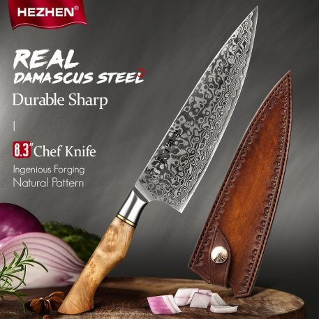 HEZHEN 8.3 inch Chef Knife VG10 Japanese 67layer Damascus Kitchen Knife For Meat cook knife Stainless Steel Super Sharp