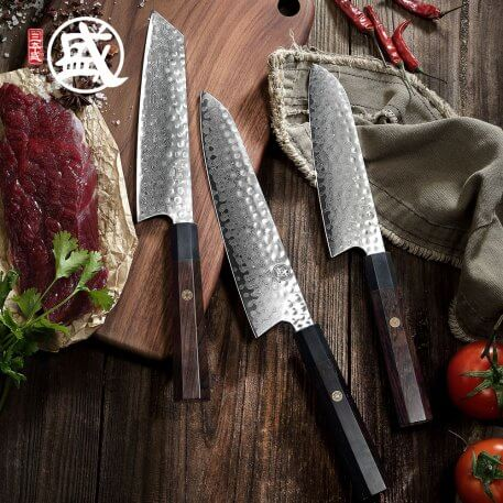 MITSUMOTO SAKARI 8''inch Damascus Steel Chef Knife Japanese handcrafted Chef's Knives natural ebony wood Handle Wooden gift BOX