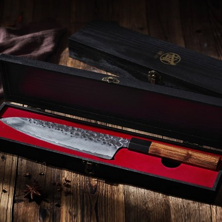 MITSUMOTO SAKARI 8.5-inch Gyuto Knife High Carbon Steel Cooking Tools Japanese handcrafted Chef's Knife wood Handle Wooden BOX
