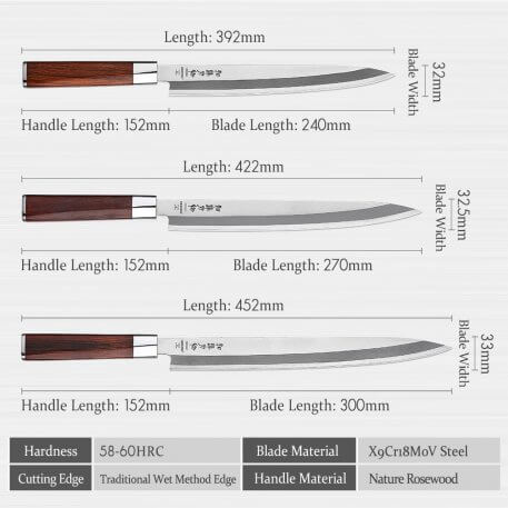 HEZHEN 240 270 300mm Sushi Knife Stainless Steel High Quality Pro Fish Fillet Knife Salmon Sushi Knife Cuisine Kitchen Knife