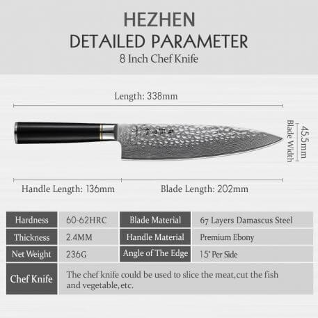 HEZHEN 8' inch Professional Japanese Chef Knives High Carbon VG10 Sharp Blade Damascus Steel Cook Knife Slicing Kitchen Knife