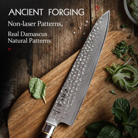 HEZHEN 9.5 inch Chef Knife Real Damascus Steel Cooking Slicing Tools kitchen Knife For Meat vegetable Cleaver Slicing Cook Knife