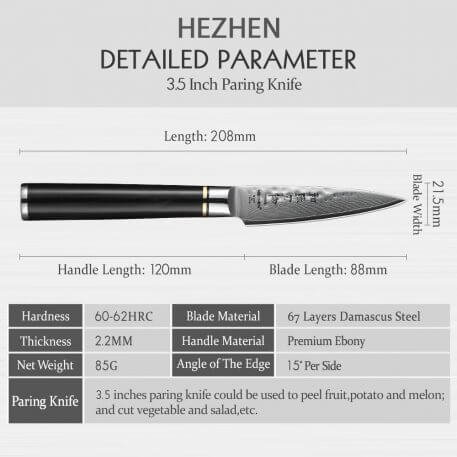 HEZHEN 3.5 inch Fruit Knife VG10 Damascus Steel Vegetable Paring Knives Damascus Blade Cooking Tools Kitchenware Gift Knife