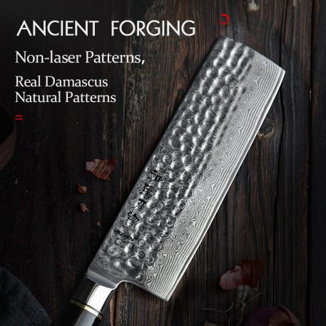 HEZHEN 7 inches Nakiri Knife Japanese Real Damascus Steel Chef's Knife Slicing Kitchen Knife For Meat Vegetable Cooking Tools