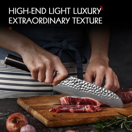 HEZHEN 7'' inch Santoku Knife Professional Japanese Damascus VG10 Steel Meat Cutting Tools Stainless Steel Cook Kitchen Knife