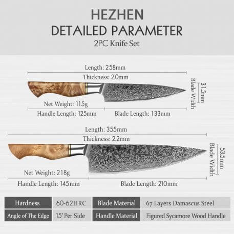 HEZHEN 2PC Kitchen Knife Set Damascus Stainless Steel Sharp Professional Chef Utility Cooking Knife VG10 Kitchen Knife