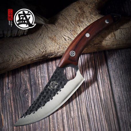MITSUMOTO SAKARI handcrafted Boning Knife with Full Tang Ebony Handle Sharp Cleaver For Beef Chicken Chef Butcher Kitchen Knife