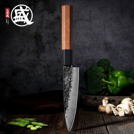 MITSUMOTO SAKARI 5.6''inch Japanese High carbon durable steel handcrafted petty knife durable wood Handle Wooden gift BOX