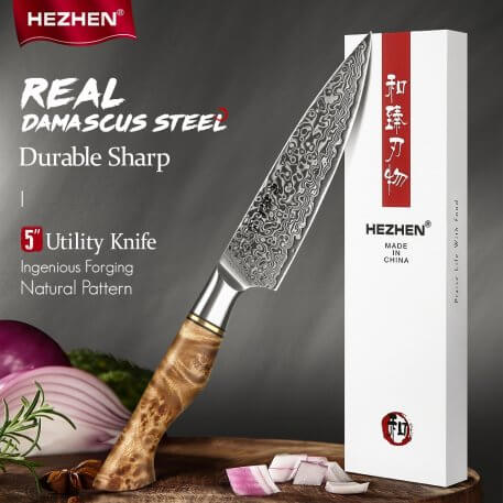 HEZHEN 5 Inch Utility Knife 67 Layer Damascus Steel Super Sharp Cook Knife For Fruit Vagetable Petty Peeling Kitchen Knife