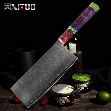 XITUO Kitchen Knife Damascus Steel 67 Layer Chinese Chef Knife Sharp Cleaver Peeling Vegetable Knife Home Hotel Cooking Tools