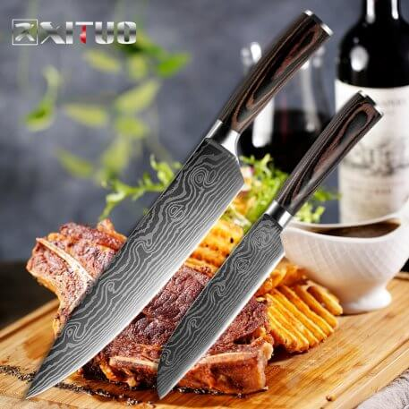 """XITUO 8"""" 5"""" inch kitchen knife set utility Japanese Chef knives Damascus steel Pattern Cleaver paring knife Food Cooking tools"""