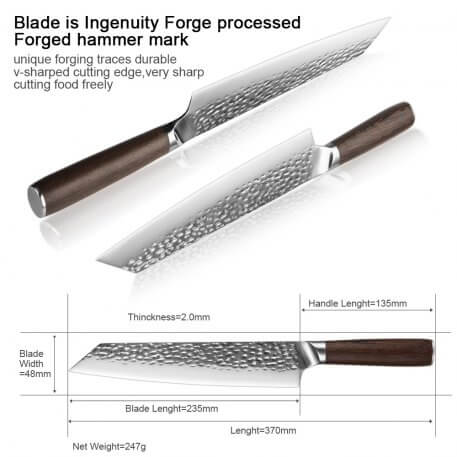 XITUO 9.5 inch Stainless Steel Chef Knife Wenge Handle Forging Anti-stick Sharp Cleaver Kitchen Knife Kiritsuke knife Cooking