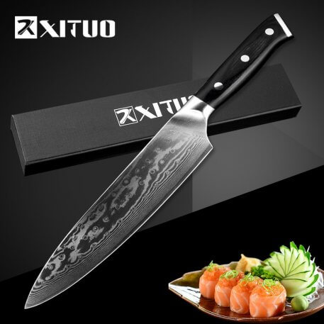 XITUO 8 inch Kitchen Chef Knife 67 Layers Japan VG10 Damascus High Carbon Steel Professional Meat Cutting Santoku Tool Cleaver