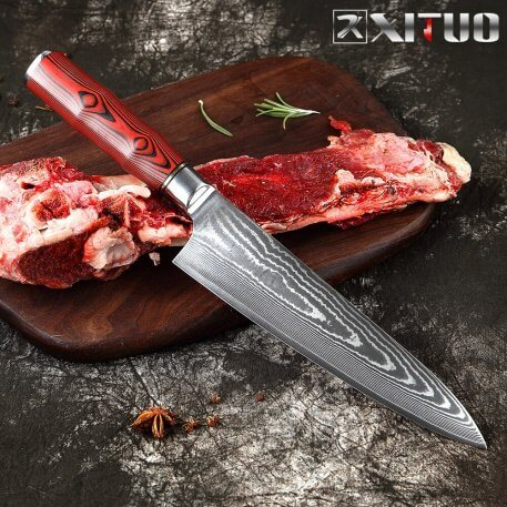 XITUO 8 Inch Kitchen Chef Knife Damascus Professional Japanese Meat Cleaver Slicing Utility Paring Vegetable with Knife Cover