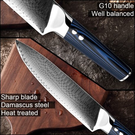 """XITUO 8"""" inch Professional Chef Knives 67 Layers Japanese VG-10 Damascus Steel Kitchen Knife Forged Santoku Cleaver Kitchen Tool"""