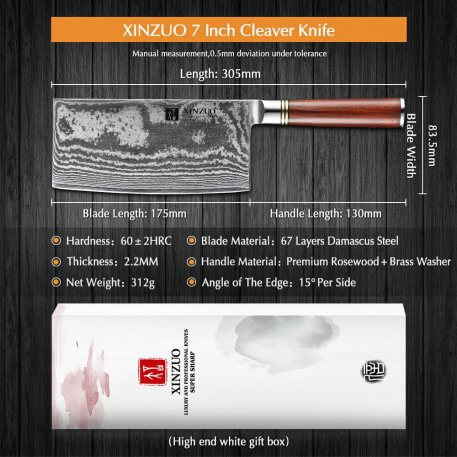 """XINZUO 7"""" inches Big Cleaver Meat Knives Damascus Stainless Steel High Quality Japanese Chef Slicing Knife with Rrosewood Handle"""