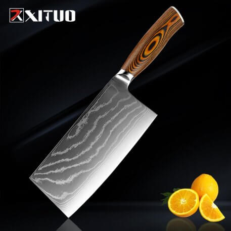 XITUO Kitchen Knives-Set Damascus Steel Very sharp Chef Knife Cleaver Paring Boning knife Color Wood Handle Best Cooking Tool
