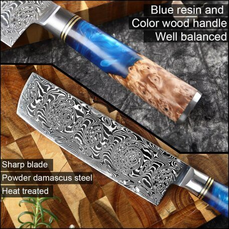 XITUO Powder Superior Damascus Steel VG10 Chef Knife Paring Cleaver Kitchen Knife Blue Resin and Color Wood Handle Cooking Tool