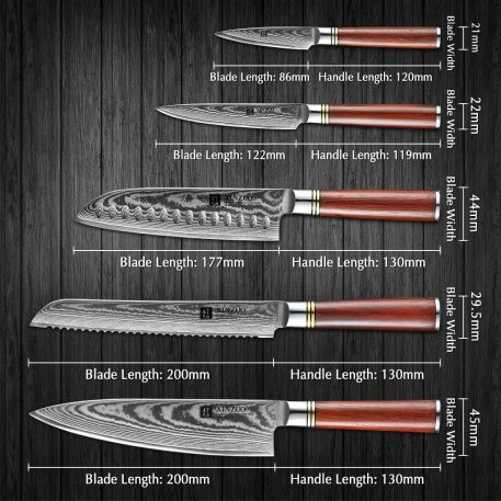 XINZUO 5 PCS Knife Set High Carbon High Quality Damascus Stainless Steel Kitchen Knives Cleaver Chef Utility Rosewood Handle
