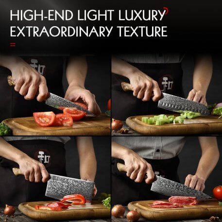 HEZHEN MASTER Series 6 PCS Knives Set Magnetic Holder Damascus Super Steel Professional Kitchen Tool Sharp Cooking Chef Knife
