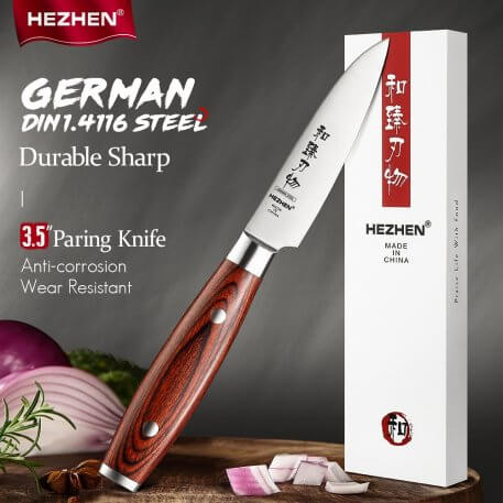 HEZHEN Basis Series 3.5 Inches Paring Knives Stainless Steel Rivet German DIN1.4116 Steel Peeling Fruit Kitchen Tools