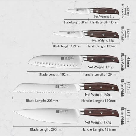 XINZUO High Carbon Germany 1.4116 Stainless Steel 5PCS Kitchen Knife Set High Quality Red Sandalwood Handle Cooking Slicing Tool