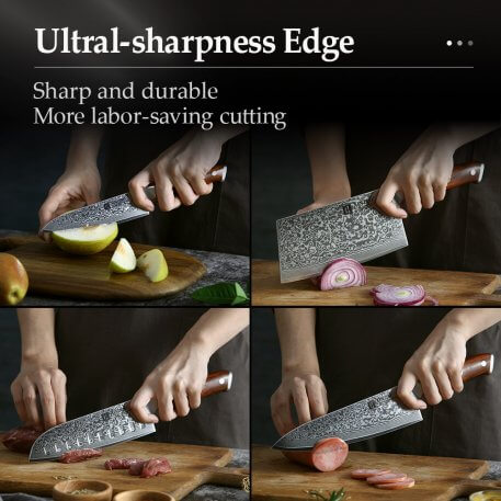 XINZUO 4PC Kitchen Knife Sets vg10 Core Damascus Steel Chef Santoku Utility Cleaver Knives Stainless Steel Slicing Meat Cutlery