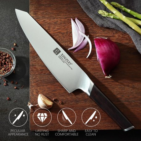 XINZUO 8'' Chef Knife Stainless Steel German Kitchen Knives Din 1.4116 Cleaver Vegetable Meat Cutting Knife with Ebony Handle