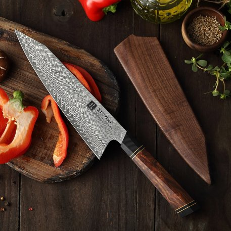 """XINZUO High Quality 8.5"""" Chef Knife with Acacia Wood Gift Box 67 Layers Damascus Steel North America Desert Ironwood +G10 Handle"""