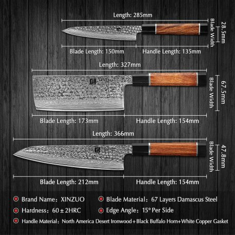 XINZUO 3PCS Kitchen Chef Cleaver Utility Knives Sets Manual Forged VG10 Damascus Steel Knife Stainless Steel Meat Chopping Gift