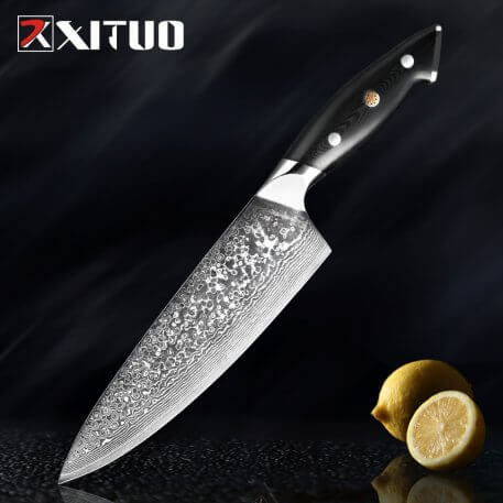 XITUO Premium Damascus VG10 Steel Japanese Chef Knife cleaver Knife Kitchen Knives Slicing Knife For Meat Vegetable Cooking