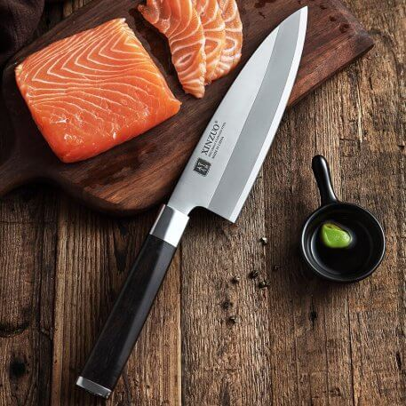 XINZUO 180MM Pro Deba Knife with Scabbard X9Cr18M Stainless Steel Sashimi Kitchen Knives One-Sided Chef Knife Ebony Wood Handle