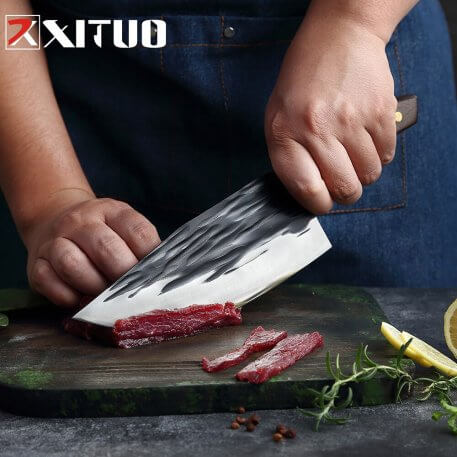 XITUO Full Tang Kitchen knife Chef Knife Handmade Forged High-carbon Steel Wenge Handle Cleaver Filleting Slicing Butcher knife