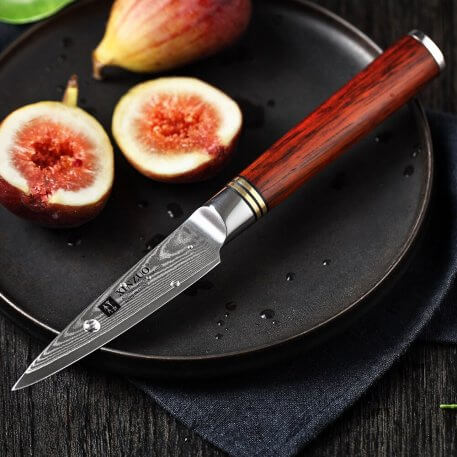 """XINZUO 3.5"""" inch Fruit/Paring/Peeling/Peeler Knife Damascus Steel Super Blade Kitchen Knives Ultra Sharp with Rosewood Handle"""