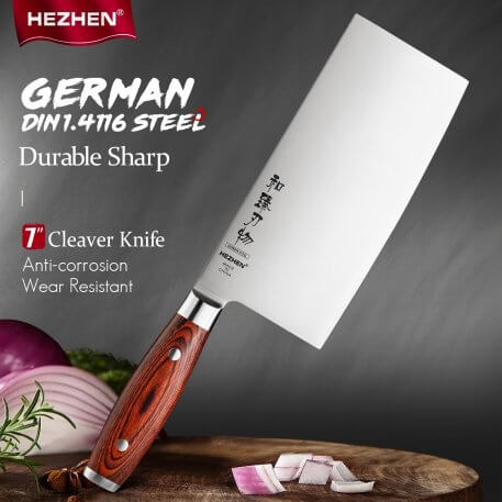 HEZHEN 7 Inches Cleaver Kitchen Knife Pakka Wood Handle & Stainless Steel Rivet German DIN1.4116 Steel Kitchen Tool Cook Knife