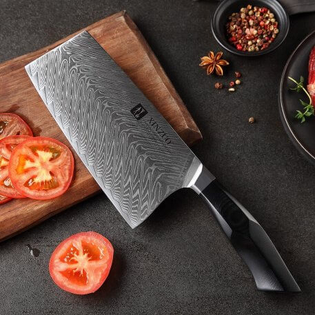 """XINZUO 7.3"""" inch Cleaver Meat Knives Damascus Steel High Quality Slicing Knife High Quality Black G10+Mosaic Brass Rivet Handle"""