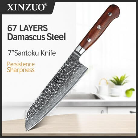 XINZUO 7'' Santoku Knife Professional Japanese Chef Knives Damascus Stainless Steel Kitchen Knife Rosewood Handle Slicing Knife