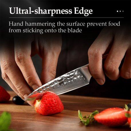 """XINZUO 3.5"""" Paring Knife VG10 Damascus Steel Blade Stainless Steel Utility Cutter Gift North America Desert Ironwood Handle"""