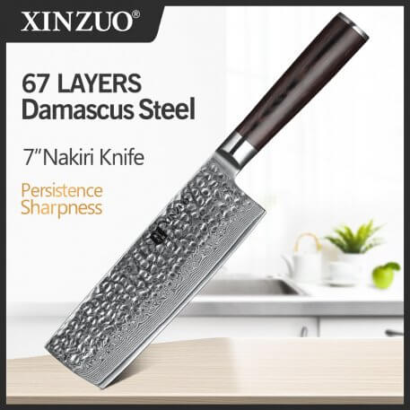 """XINZUO 6.8"""" inch Cleaver Knife Japanese Damascus Steel VG10 Kitchen Knives Brand New Chinese Chef's Knives Pakka Wood Handle"""