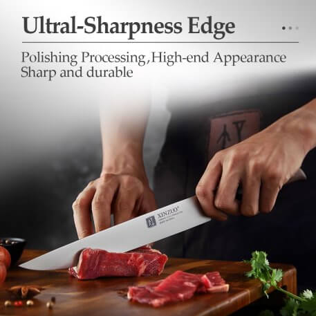 XINZUO Germany 1.4116 Steel 8 in'' Kitchen Carving Knives Red Sandalwood Handle Cooking Slicing Vegetable Meat Butcher's Knife