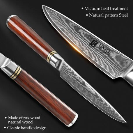 """XINZUO 5"""" inch Utility Knife Japanese VG10 Damascus Steel Kitchen Knives Blade Paring Fruit peeling Knives Rosewood Handle"""