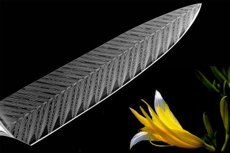 XITUO Kitchen Chef Knives 8 inch Classic pattern Japanese 7CR17 Stainless Steel Sanding Laser Pattern Vegetable Santoku Knife