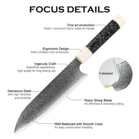 XITUO 8 Inch Santoku Knife Japanese Damascus Super Steel Chef knife New and beautiful Kitchen Knives Professional Chef's Tools