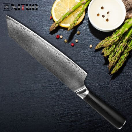 XITUO Damascus Steel Chef Knife Professional Japanese Chef Knife Kiritsuke Gyuto Cleaver Utility Knives Cooking Tool G10 Handle