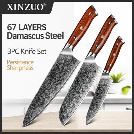 XINZUO 3 PCS Kitchen Knife Set Damascus Steel Professional Santoku Utility Chef's Knives Rosewood Handle Stainless Steel Cutlery
