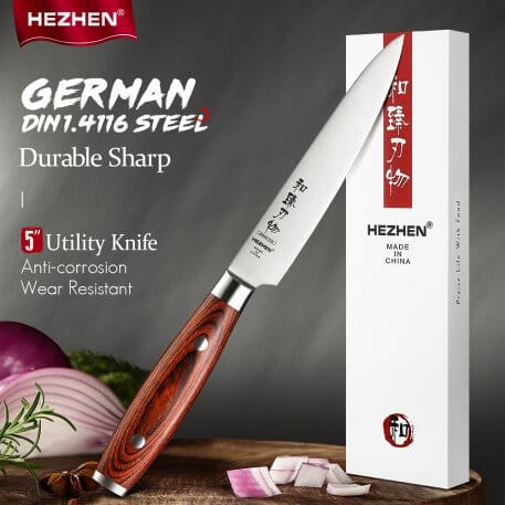 HEZHEN 5 Inches Utility Kitchen Knives Stainless Steel Beautiful Gift Box Super Sharp Kitchen Tool Cook Knife