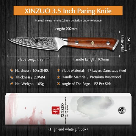 """XINZUO 3.5"""" inch Paring knife Japan Damascus VG10 Steel Newest Fruit Peeler Knife Kitchen Knife Ultra Sharp with Rosewood Handle"""
