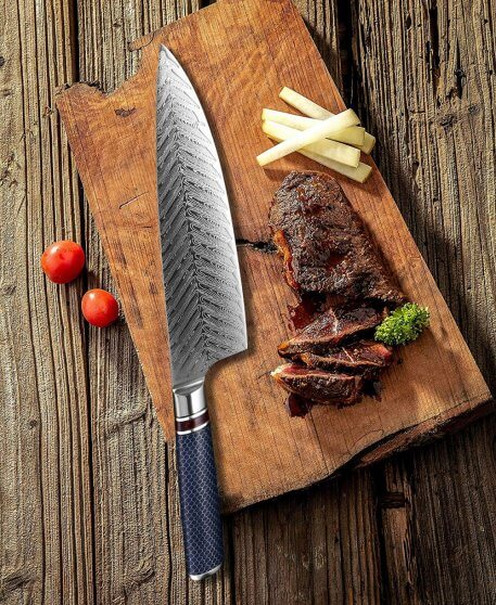 XITUO Chef Knife Damascus Steel 8-inch VG 10 Sharp Gyutou Utility Slicer Cleaver Knife Resin Honeycomb Handle Kitchen Knives New