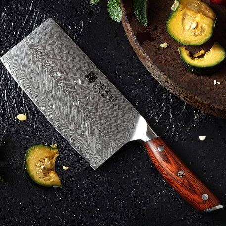 XINZUO 7 '' Meat Cleaver Knife High Carbon VG10 Damascus Stainless Steel Chef's Kitchen Knives Sharp Slicing Butcher Gift Knife