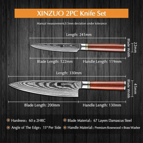 XINZUO 2 PCS Kitchen Chef Utility Knife Sets Damascus Steel Professional Stainless Steel Slicing Meat Knives with Gift Box
